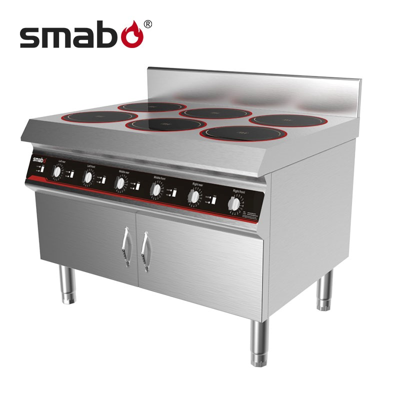 Smabo 6 burners commercial induction cooktop with flexible functionalities